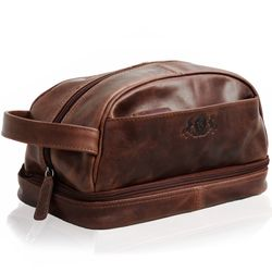 SID & VAIN washbag ALEX -1555- travel necessaire PULL-UP leather - brown-cognac