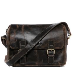 SID & VAIN messenger bag YALE -1705- shoulder bag SPLITT DISTRESS leather - brown-contrastdark