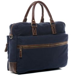 SID & VAIN Laptoptasche Chase Canvastasche Businesstasche - Canvas & Leder Notebooktasche, XL, blau-braun 4