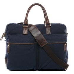 SID & VAIN Laptoptasche Chase Canvastasche Businesstasche - Canvas & Leder Notebooktasche, XL, blau-braun 2