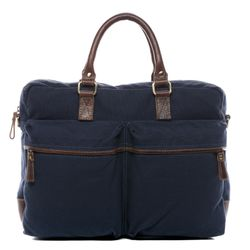 SID & VAIN laptop bag Chase -2011- business bag CANVAS-PULL-UP leather - blue-brown