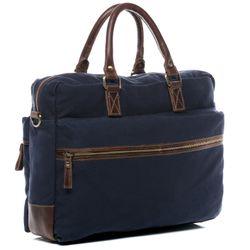 SID & VAIN Laptoptasche Chase Umhängetasche XL Canvas & Leder Aktentasche Businesstasche 4