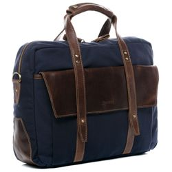 SID & VAIN Aktentasche Chase Canvastasche Businesstasche - Canvas & Leder Laptoptasche, XL, blau-braun