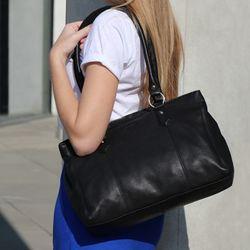 BACCINI Handtasche Soft Nappa schwarz Henkeltasche Handtasche mit langen Henkeln 5