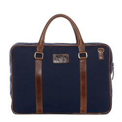 SID & VAIN laptop bag MARLOW -1918- business bag CANVAS-PULL-UP leather - blue-brown