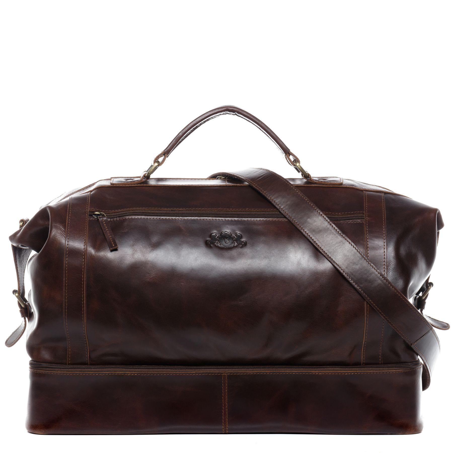 SID   VAIN travel bag smart compartment Natural Leather BRIGHTON  brown-cognac weekender overnight duffle bag Travel Bags Sports bags e1aebbeff40e