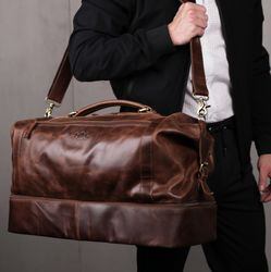 SID & VAIN Reisetasche Schuh-Fach Natur-Leder braun-cognac Sporttasche Reisetasche mit separatem Schuh-Fach Hemden 4