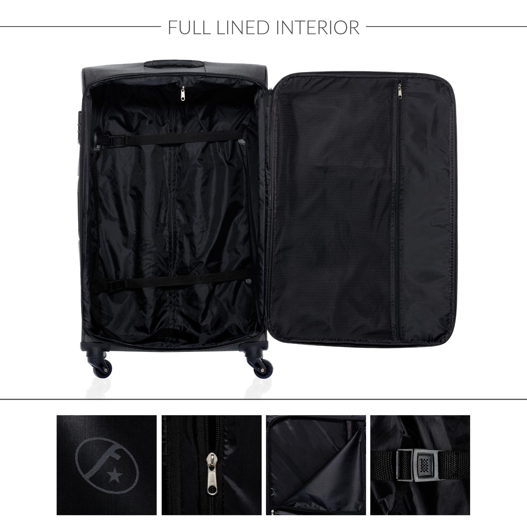 6587beed7 FERGÉ luggage set 3 piece Nylon LYON black soft shell travel trolley ...