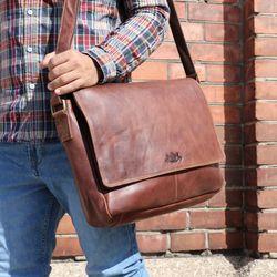 SID & VAIN Messenger Bag Natur-Leder vintage-braun Businesstasche Laptoptasche Messenger Bag 6