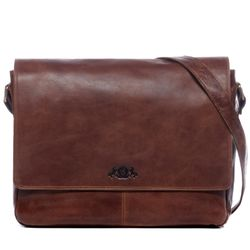 SID & VAIN messenger bag SPENCER 15,4'' shoulder bag L brown Smooth Leather laptop courier cross-body bag