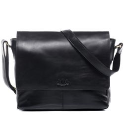 SID & VAIN Messenger Bag Glattleder schwarz Businesstasche Laptoptasche Messenger Bag