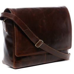 SID & VAIN Messenger Laptoptasche SPENCER Natur-Leder braun-cognac Businesstasche Laptoptasche Messenger Bag 2