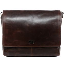 SID & VAIN Messenger Laptoptasche SPENCER Natur-Leder braun-cognac Businesstasche Laptoptasche Messenger Bag