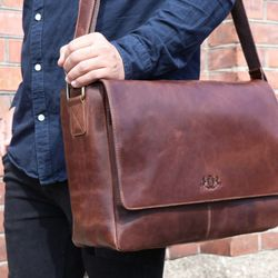 SID & VAIN Messenger Laptoptasche SPENCER Natur-Leder braun-cognac Businesstasche Laptoptasche Messenger Bag 5
