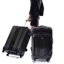 FERGÉ 2er Kofferset Handgepäck + XL CANNES ABS & PC graphite-metallic Trolley-Hartschalenkoffer Set 4 Rollen Kofferset 2-teilig Hartschale 55 cm 4