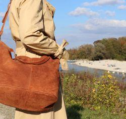 BACCINI Handtasche lange Henkel SELMA Wildleder hellbraun Henkeltasche Handtasche mit langen Henkeln 5