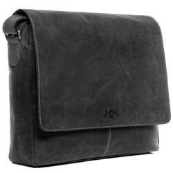 SID & VAIN Messenger Laptoptasche SPENCER Büffelleder grau und schwarz Businesstasche Laptoptasche Messenger Bag 2