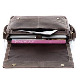 SID & VAIN Messenger Laptoptasche SPENCER Büffelleder grau und schwarz Businesstasche Laptoptasche Messenger Bag 4