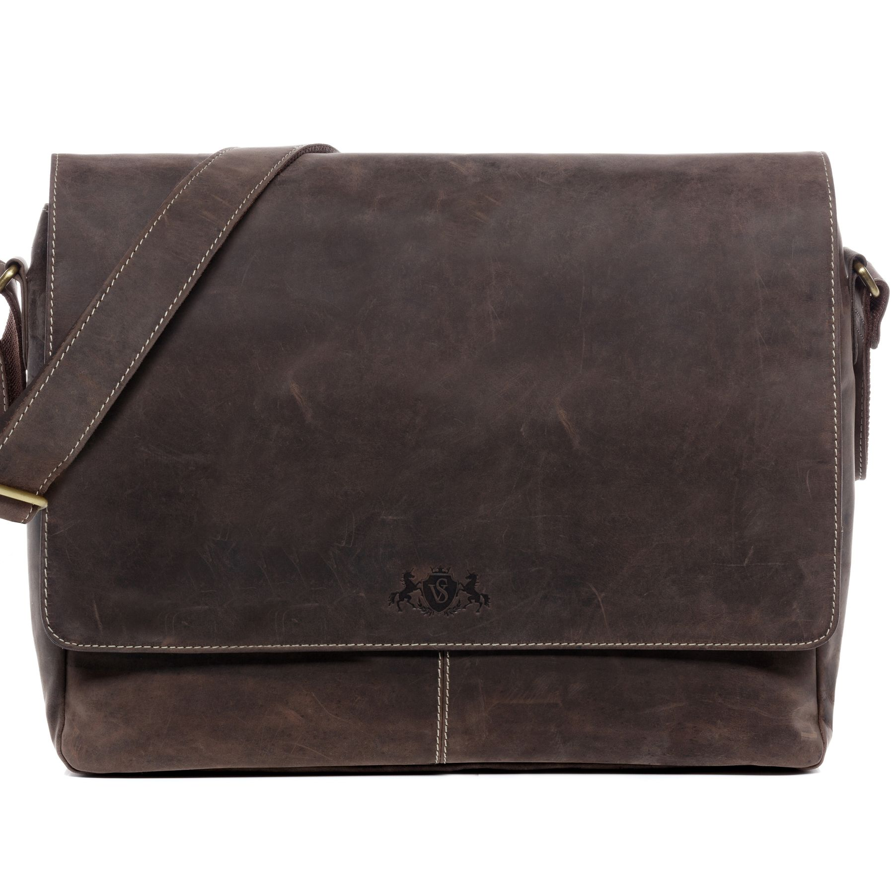 SID   VAIN messenger bag SPENCER 15   shoulder bag L brown Smooth Leather  laptop courier cross-body bag Business Briefcases ce31caa7fbe
