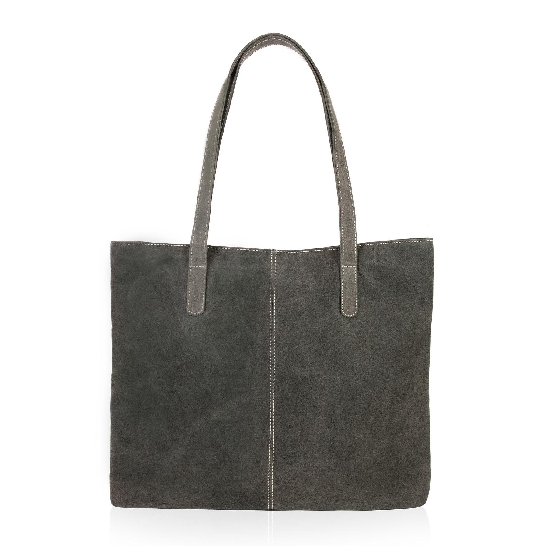 0456024438823 BACCINI Shopper Büffelleder SPECTOR grau und schwarz Henkeltasche Shopper  Taschen Damentaschen