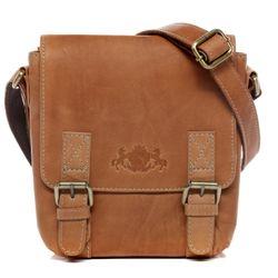 SID & VAIN Umhängetasche Natur-Leder braun-beige Messenger Bag Umhängetasche