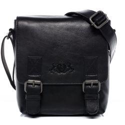 SID & VAIN Messenger bag KERBY natuurlijk leer zwart