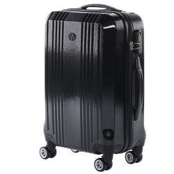FERGÉ Handgepäck-Koffer CANNES ABS Dure-Flex Full Black Reisekoffer Kabinen-Trolley 4 Rollen Handgepäck-Koffer Hartschale 5