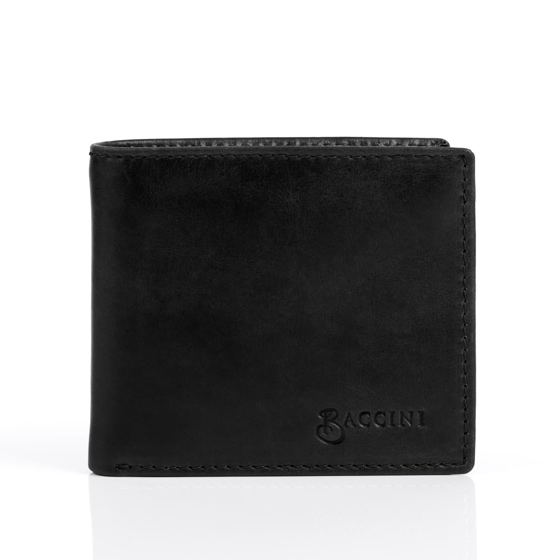 3540305c96e BACCINI billfold wallet Smooth Leather NATHAN black portemonnaie pocket  with multiple card-slots Accessoires Wallets