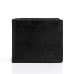 BACCINI billfold wallet LEANDRO  portemonnaie EastWest black Smooth Leather pocket with multiple card-slots