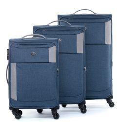 FERGÉ Kofferset 3-teilig leicht Saint-Tropez Trolley-Stoffkoffer 3 Größen Nylon-Denim Koffer-Set Leicht 3er Weichschalenkoffer Set 4 Komfortrollen (360°)