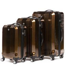 FERGÉ 3er Kofferset CANNES ABS & PC bronze-metallic 3er Hartschalenkoffer Roll-Koffer 4 Rollen Kofferset Hartschale 3-teilig 5