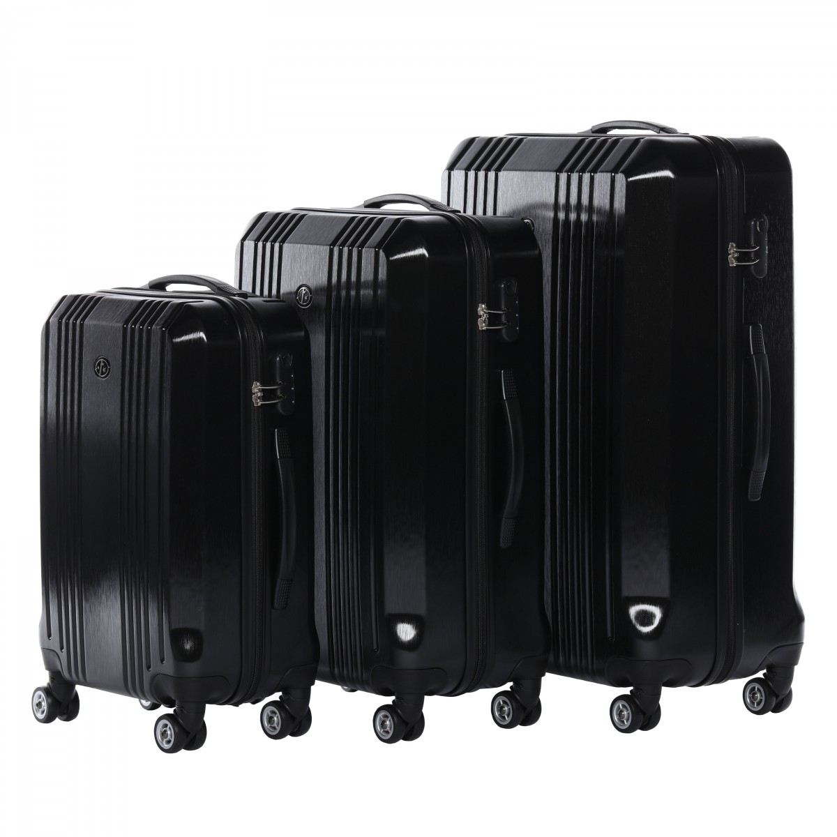 ferg kofferset 3 teilig hartschale cannes full black 3er. Black Bedroom Furniture Sets. Home Design Ideas
