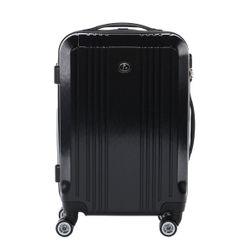 FERGÉ 3er Kofferset CANNES ABS & PC Full Black 3er Hartschalenkoffer Roll-Koffer 4 Rollen Kofferset Hartschale 3-teilig 6