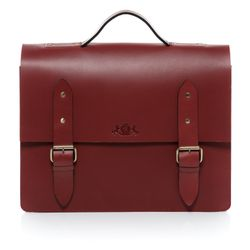 SID & VAIN briefcase BRIGHTON 15,4'' office work bag XL red Smooth Leather portable computer briefcase shoulder strap