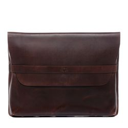 SID & VAIN laptop case HARVORD 15,4'' notebook sleeve L brown Natural Leather computer portfolio