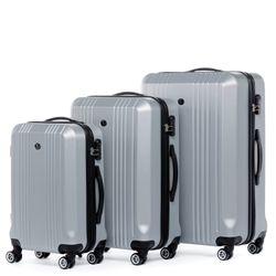 FERGÉ 3er Kofferset CANNES ABS Dure-Flex Silver Metal Optik 3er Hartschalenkoffer Roll-Koffer 4 Rollen Kofferset Hartschale 3-teilig 2