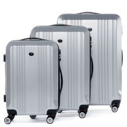 FERGÉ 3xTrolley - 3 sizes - XB-03 - CANNES silver-wire-emboss ABS