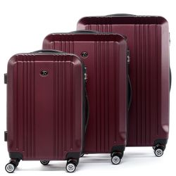 FERGÉ 3xTrolley - 3 sizes - XB-03 - CANNES burgund-wire-emboss ABS