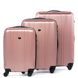 FERGÉ luggage set 3 piece Dijon  hard shell trolley 3 sizes pink ABS suitcase set 4 spinner wheels