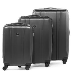 FERGÉ luggage set 3 piece Dijon  hard shell trolley 3 sizes grey ABS suitcase set 4 spinner wheels
