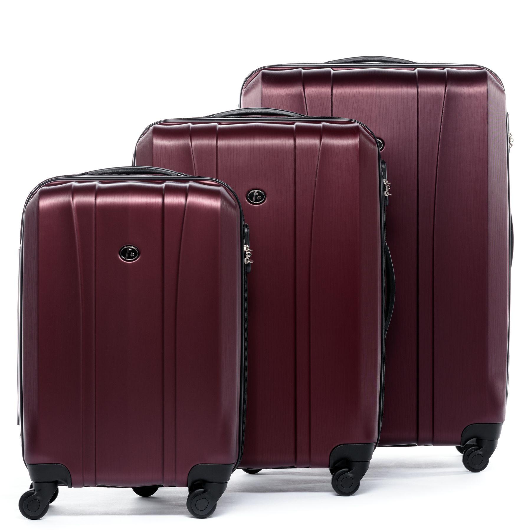 ferg 3er kofferset hartschale reise koffer trolley set 3 teilig 4 rollen rot ebay. Black Bedroom Furniture Sets. Home Design Ideas
