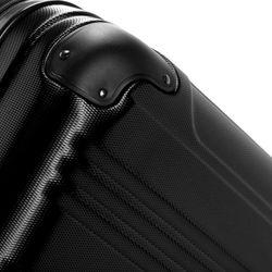 FERGÉ 3er Kofferset QUÉBEC ABS Dure-Flex schwarz 3er Hartschalenkoffer Roll-Koffer 4 Rollen Kofferset Hartschale 3-teilig 2