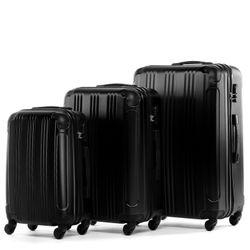 FERGÉ 3er Kofferset QUÉBEC ABS Dure-Flex schwarz 3er Hartschalenkoffer Roll-Koffer 4 Rollen Kofferset Hartschale 3-teilig 8