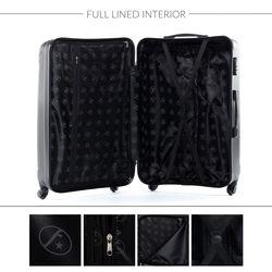 FERGÉ 3er Kofferset QUÉBEC ABS Dure-Flex schwarz 3er Hartschalenkoffer Roll-Koffer 4 Rollen Kofferset Hartschale 3-teilig 7