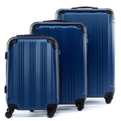 FERGÉ luggage set 3 piece QUÉBEC  hard shell trolley 3 sizes blue ABS suitcase set 4 spinner wheels