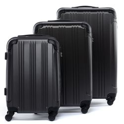 FERGÉ luggage set 3 piece QUÉBEC  hard shell trolley 3 sizes grey ABS suitcase set 4 spinner wheels