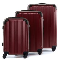 FERGÉ luggage set 3 piece QUÉBEC  hard shell trolley 3 sizes red ABS suitcase set 4 spinner wheels