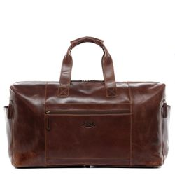 SID & VAIN travel bag carry-all  BRISTOL  weekender duffel bag XL brown Natural Leather overnight duffle bag hold-all
