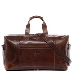 SID & VAIN travel bag carry-all  BRISTOL  weekender duffel bag XL brown Natural Leather overnight duffle bag hold-all  9