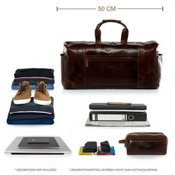 SID & VAIN travel bag carry-all  BRISTOL  weekender duffel bag XL brown Natural Leather overnight duffle bag hold-all  4